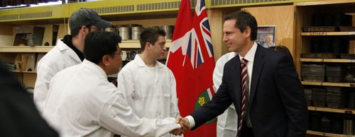 Ontario Premier Dalton McGuinty meets with Second Career students at Mohawk College.